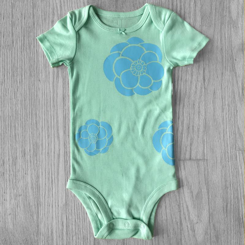 Blue Peonies On Chill Minty Green Baby Bodysuit