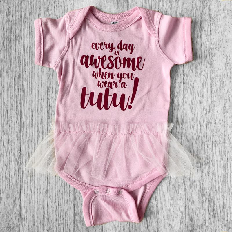 Every day is awesome when you wear a tutu Baby Bodysuit