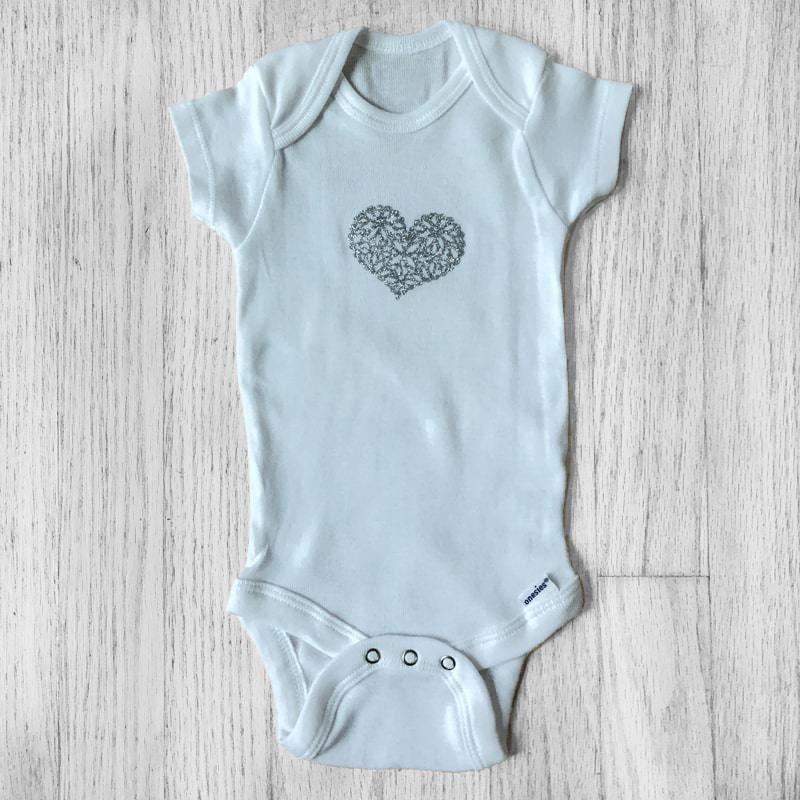 Flourish Silver Glitter Heart Baby Bodysuit