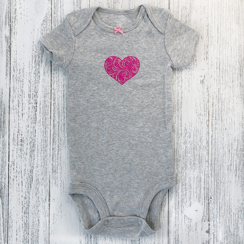 Flourish Heart In Pink On Heather Grey 7884