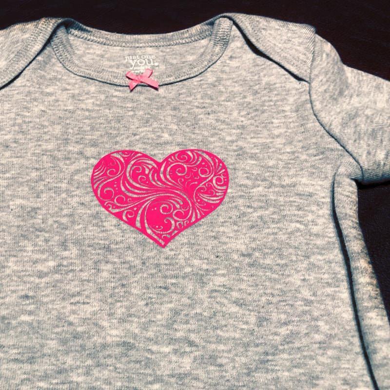 Flourish Heart In Pink On Heather Grey Baby Onesie 7884