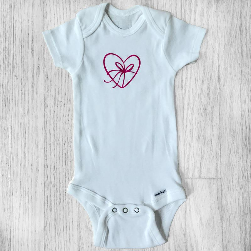 Gift Wrapped Heart Outline Baby Bodysuit