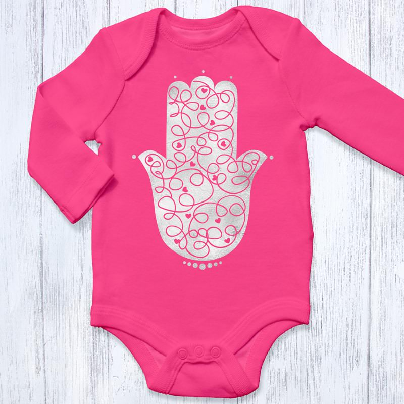 Hamsa Hand In Metallic Silver 1242 Raspberry