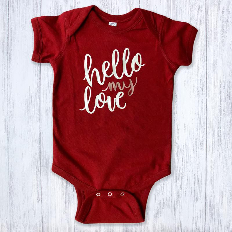 Hello My Love White and Gold Metallic Baby Bodysuit