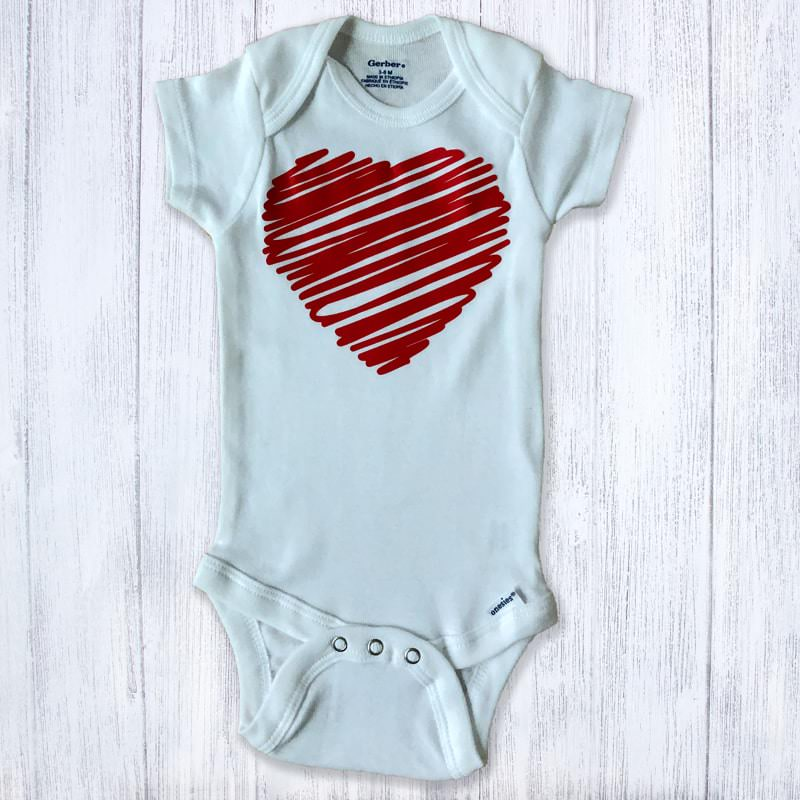 Large Scribble Heart Baby Bodysuit