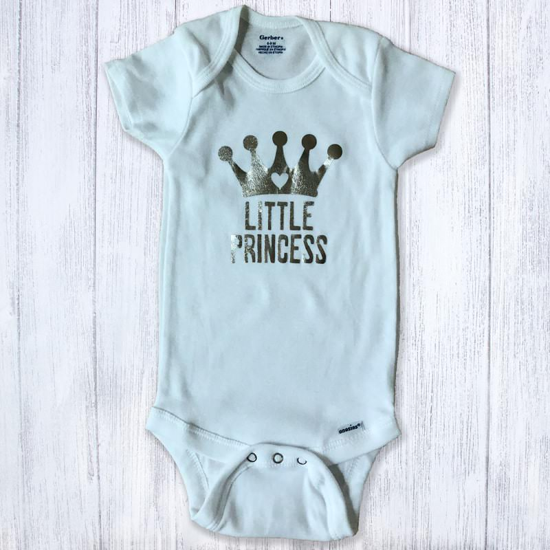 Little Princess Silver Metallic Baby Bodysuit
