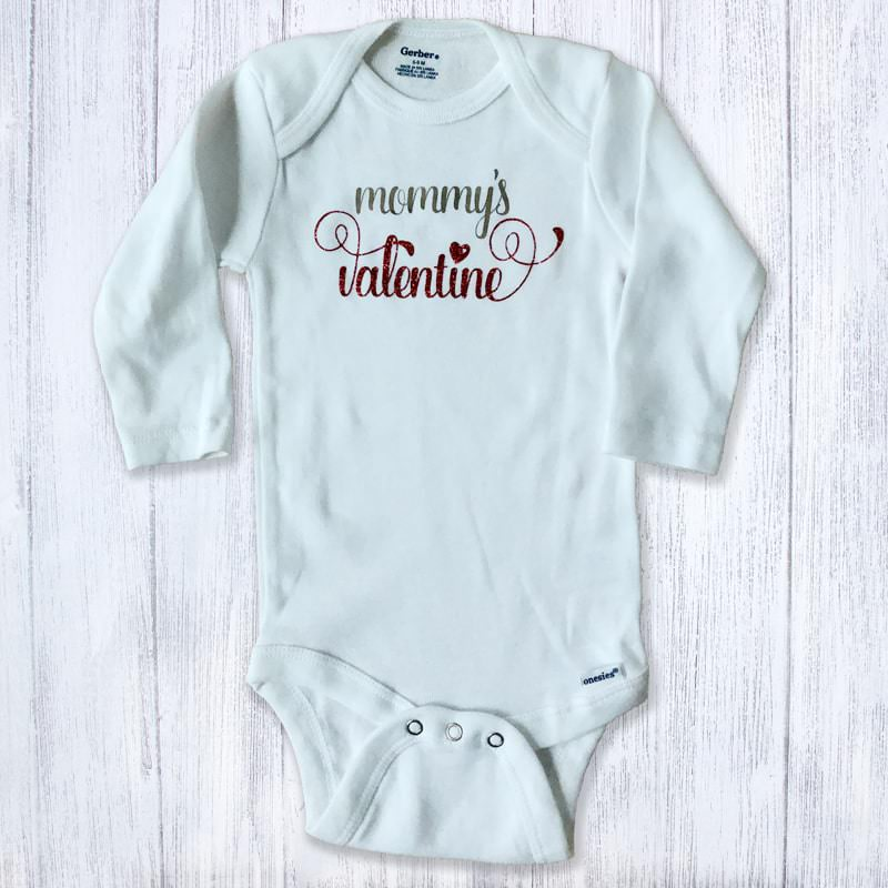 Mommy's Valentine Silver and Red Glitter Long Sleeved Baby Bodysuit