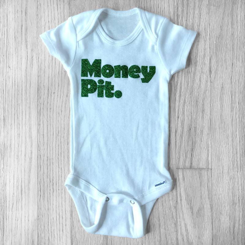 Money Pit Green Glitter Baby Bodysuit
