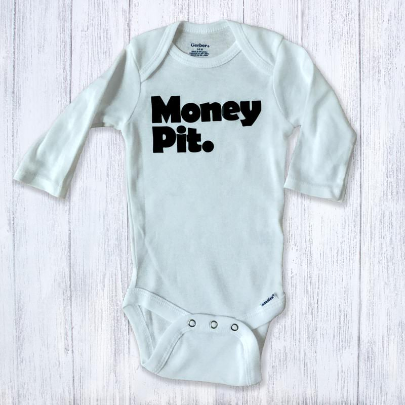 Money Pit Long Sleeved Baby Bodysuit