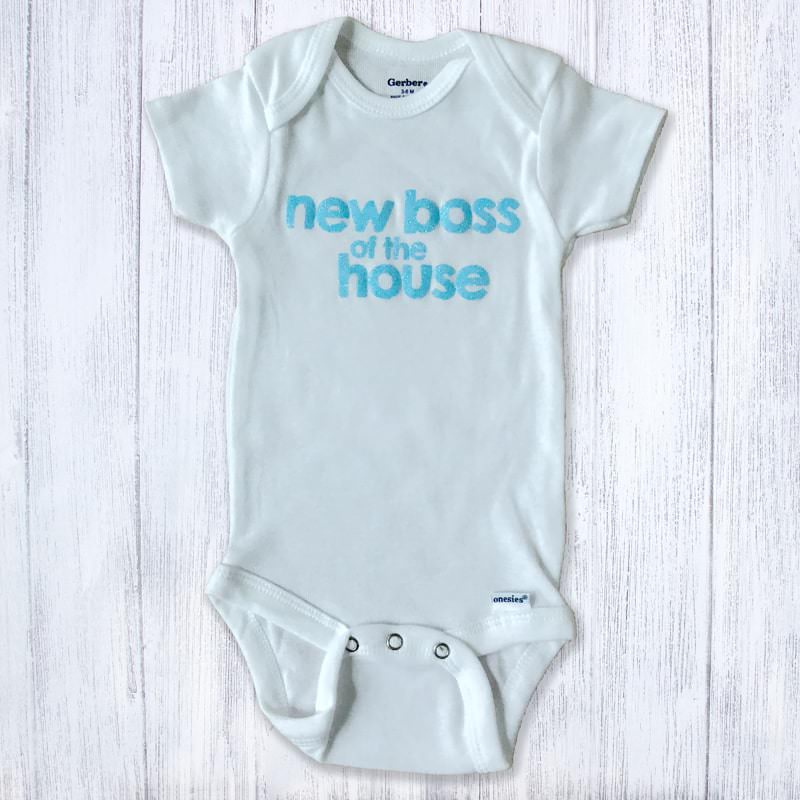 New Boss Of The House Light Blue Baby Bodysuit