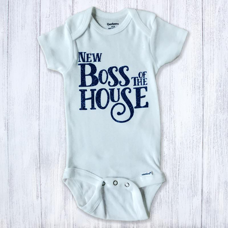 New Boss of the House Glittery Baby Bodysuit