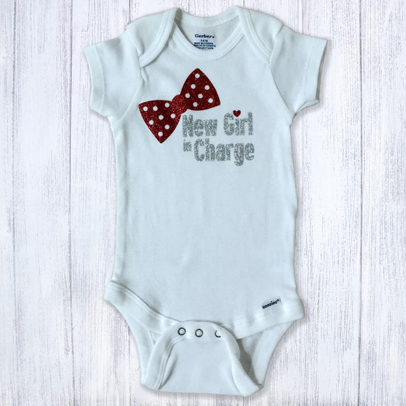 New Girl In Charge Red & Silver Glitter Baby Bodysuit