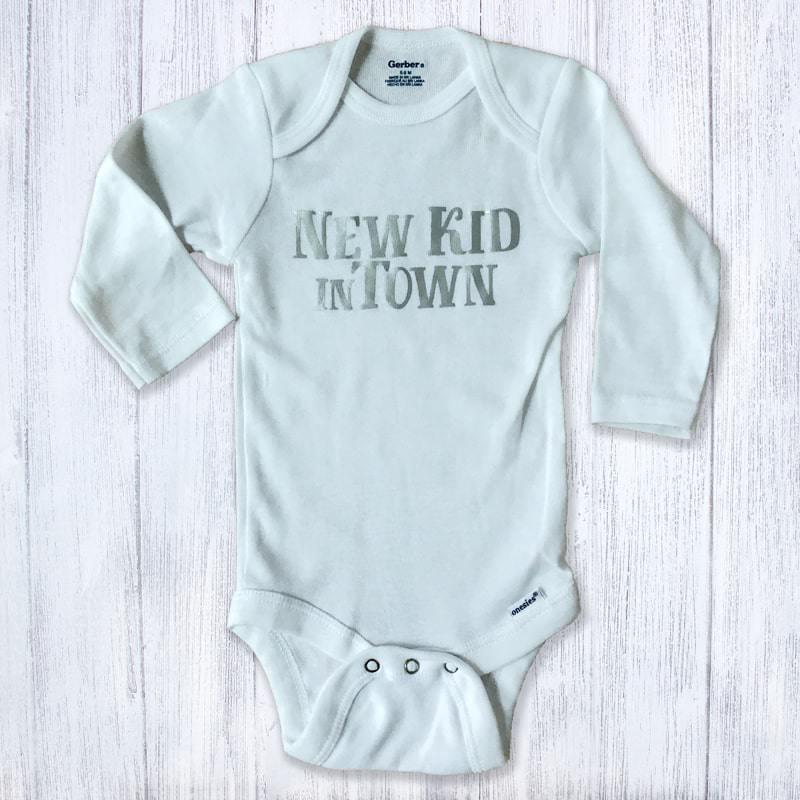 New Kid in Town Long Sleeved Silver Metallic Letters Baby Bodysuit