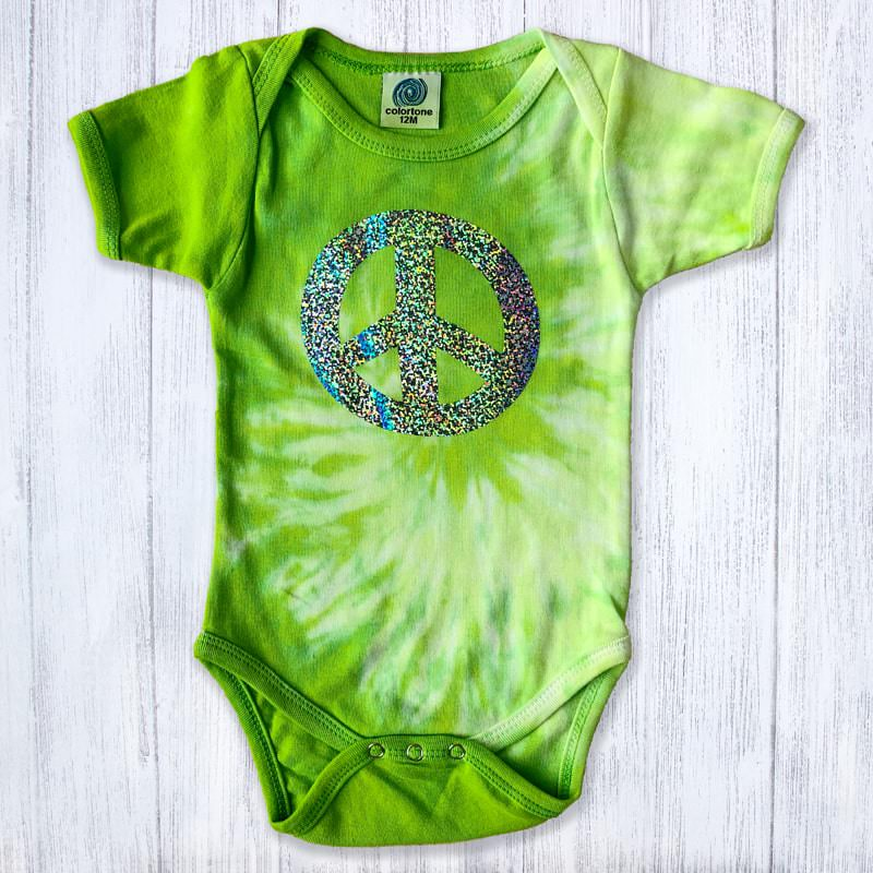 Peace Sign Holograph on Tie Dye Baby Bodysuit