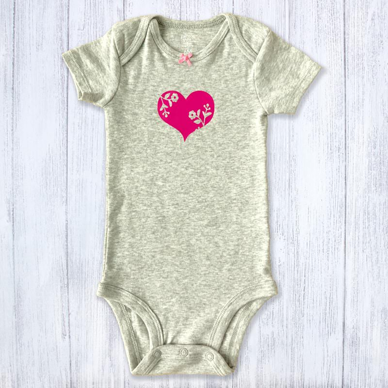 Pink Flourish Small Heart Baby Bodysuit