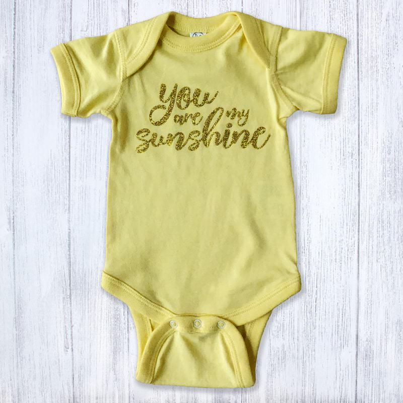 You are my Sunshine Glittery Baby Bodysuit