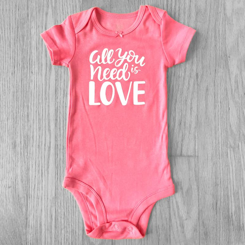 All You Need Is Love Glitter Short Sleeved Bodysuit