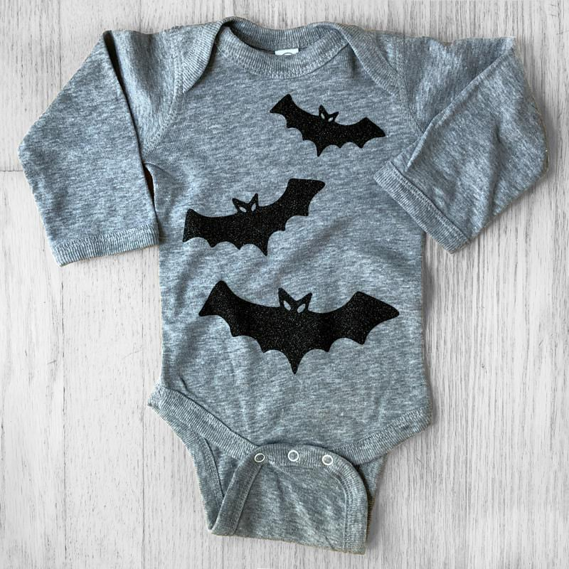 Black Glitter Bats on Long Sleeved Grey Baby Bodysuit