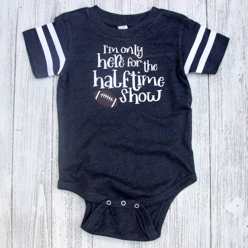 I'm Only Here For The Halftime Show Football Jersey Baby Bodysuit