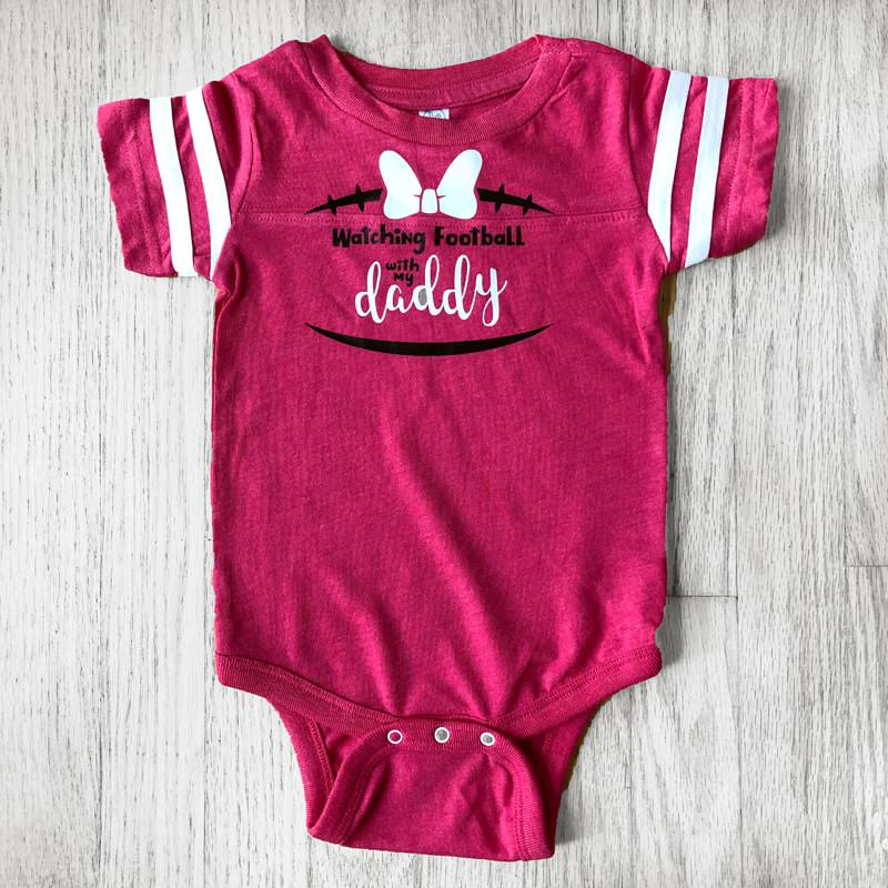 Watching Football with My Daddy Baby Jersey Bodysuit