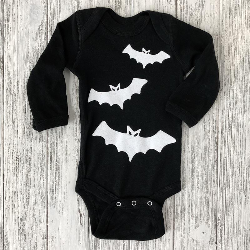 White Bats on Black Long Sleeved Baby Bodysuit