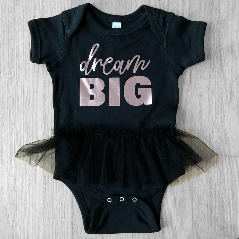 dream BIG Black Tutu Bodysuit with Rose Gold Metallic