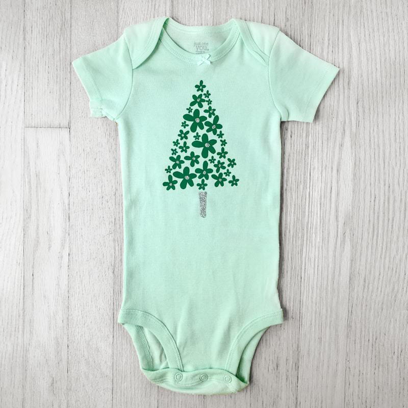 Green and Silver Glitter Flower Christmas Tree Baby Bodysuit