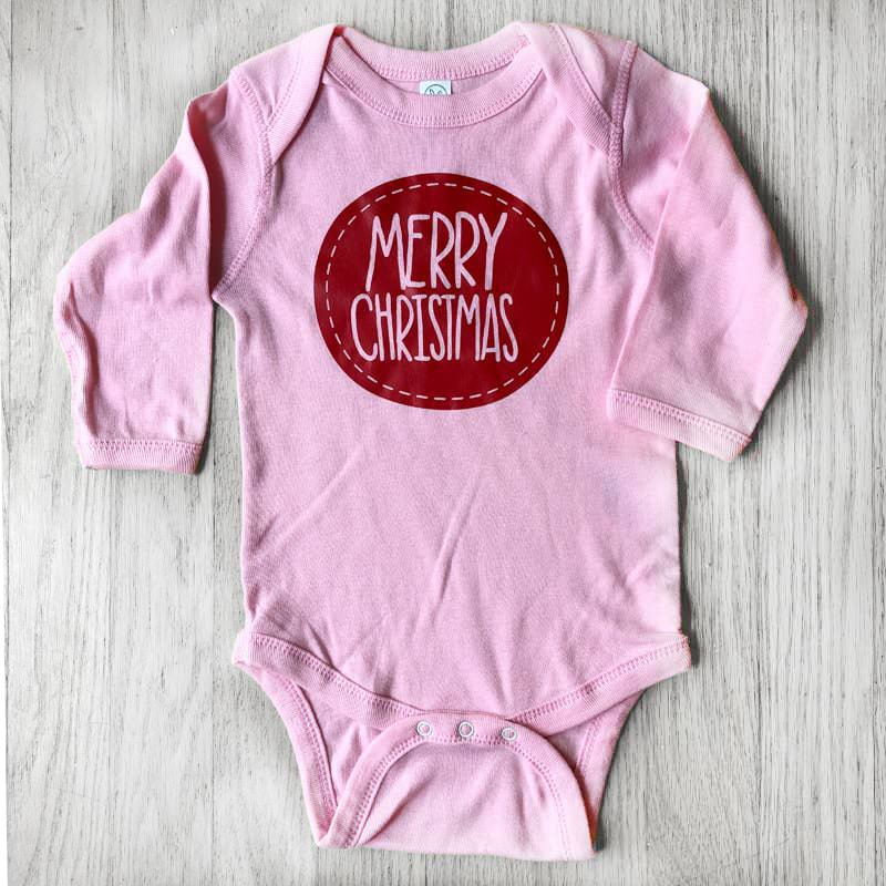 Merry Christmas Patch Baby Bodysuit