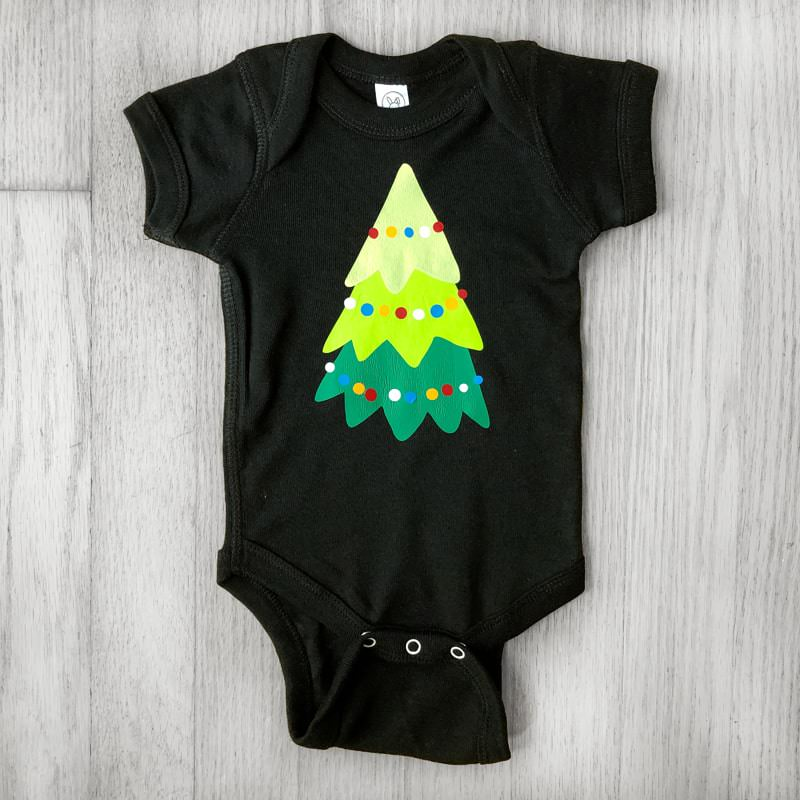 Multicolor Layered Metallic Christmas Tree with Ornaments Baby Bodysuit